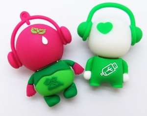 white and green minicartoon custom usb memory drives